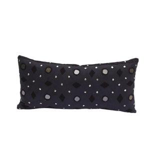 Boho Navy Mirrored Lumbar Pillow For Sale
