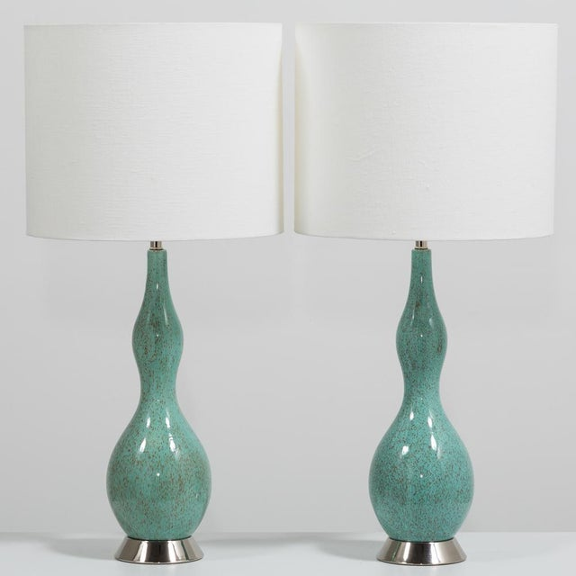 Pair of Aqua and Brown Speckled Ceramic Lamps 1970s For Sale - Image 4 of 4