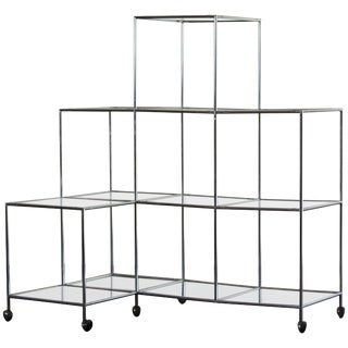 "Poul Cadovius ""Absracta"" Chrome & Glass Shelving Unit"