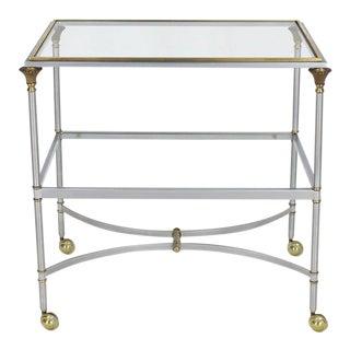 Two-Tier Brass Chrome Glass Rectangular Mid-Century Modern Serving Bar Cart For Sale