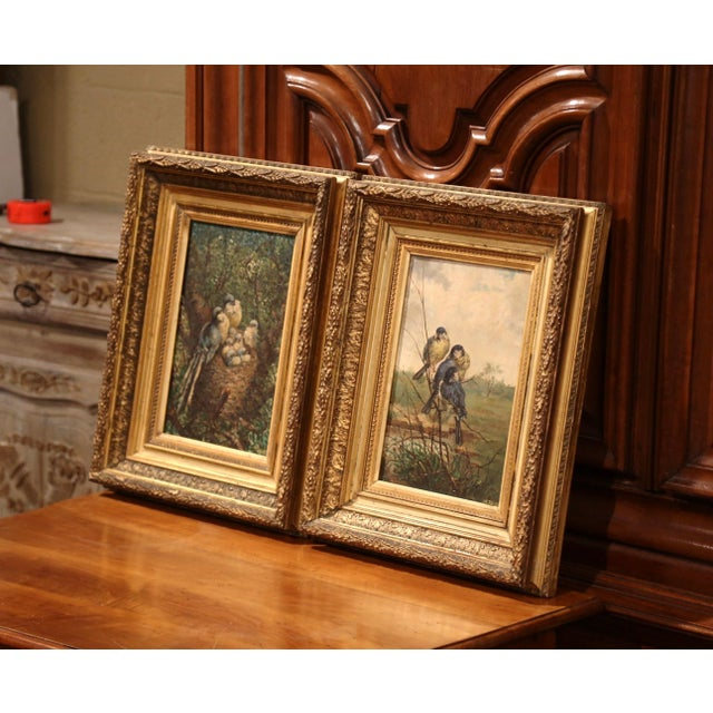 Beautiful pair of antique oil on canvas paintings in carved gilt frames; painted circa 1870, each bird painting is signed...