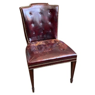 Burgundy Studded Leather Desk Chair For Sale