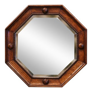 Mid-20th Century French Carved Oak Octagonal Wall Mirror With Beveled Glass For Sale
