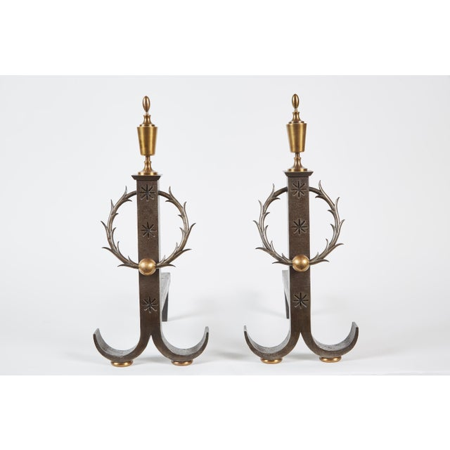 Neoclassical Pair of Samuel Yellin Iron Andirons For Sale - Image 3 of 6