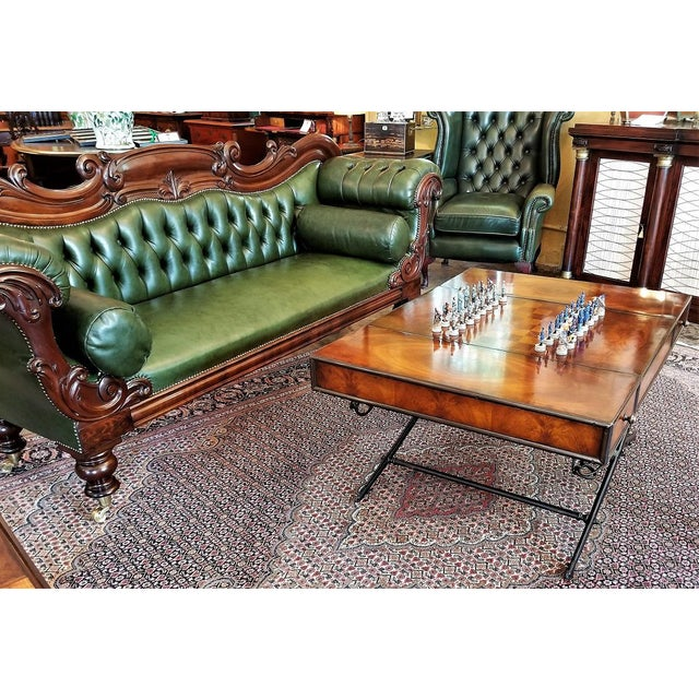 Metal Civil War Themed Mahogany Games Table With Sword Legs For Sale - Image 7 of 13