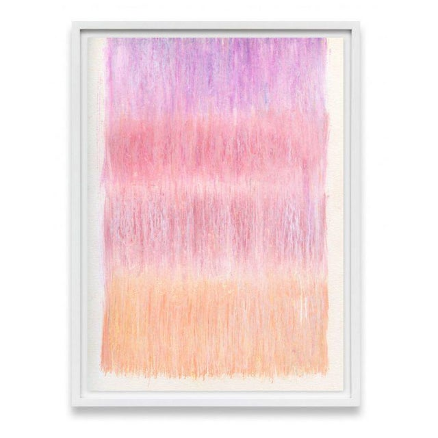 Layers of sherbet-colored strokes of pastel create a shimmering gradient that evokes a textile hanging or waterfall of...