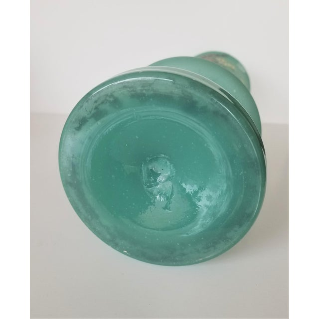 Victorian Hand Painted Blue Green Bristol Frosted Glass Vases - a Pair For Sale - Image 12 of 13