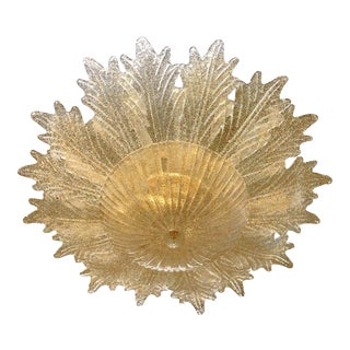 Contemporary Italian Custom Amber Textured Murano Glass Brass Flower Flush Mount For Sale