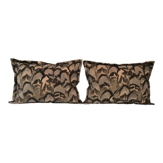 Contemporary Scalamandre Velvet Feather Amimal Print Pillows - a Pair For Sale