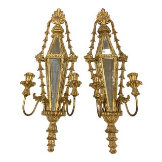 Pair of Italian Hand Carved Giltwood Mirrored Candle Sconces For Sale