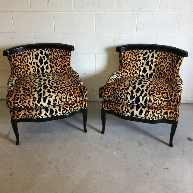Velvet Leopard Print Slipper Chairs - a Pair For Sale - Image 11 of 11