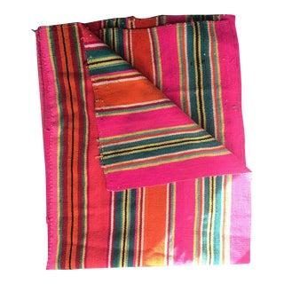 "Vintage Bolivian Frazada 3 Striped Wool -- 5'1"" x 6'1"""