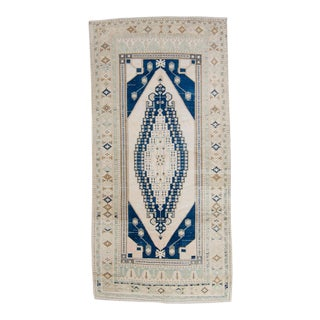 """1940s Vintage Oushak Beige Blue Wool Hand-Knotted Rug - 5'3"""" X 10'9"""" For Sale"""