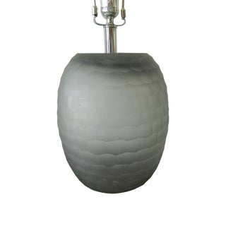 Carved Blush Glass Lamp