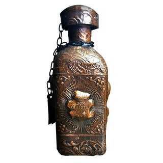 Spanish Mid Century Hand Crafted Leather Bound Sculpted Whiskey Decanter For Sale