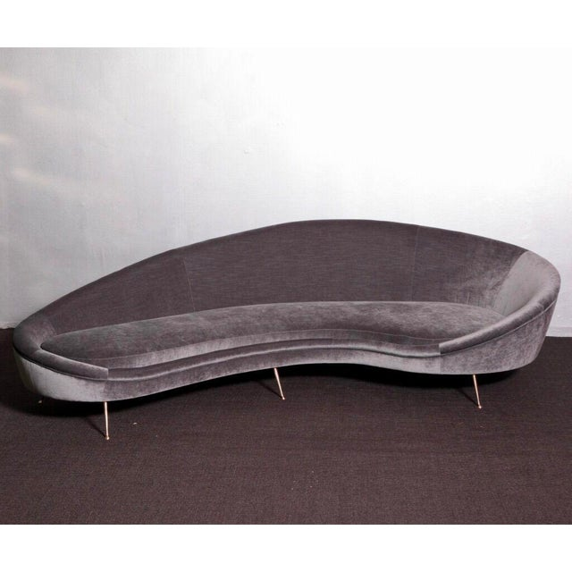 Huge Italian Velvet Sofa in the Manner of Ico Parisi - Image 7 of 7