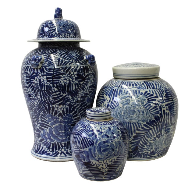Chinese Set of 3 Blue White Abstract Flower Temple Ginger Jars For Sale