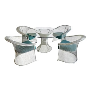 Mid Century Wire Formed Patio Set For Sale
