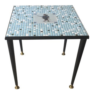 Mid-Century Modern Mosaic Tile Top Side Table With Swashbuckler Accent Tile For Sale
