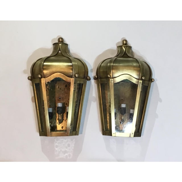 Hand Crafted Wall Mounted Brass Lanterns - A Pair For Sale - Image 11 of 11