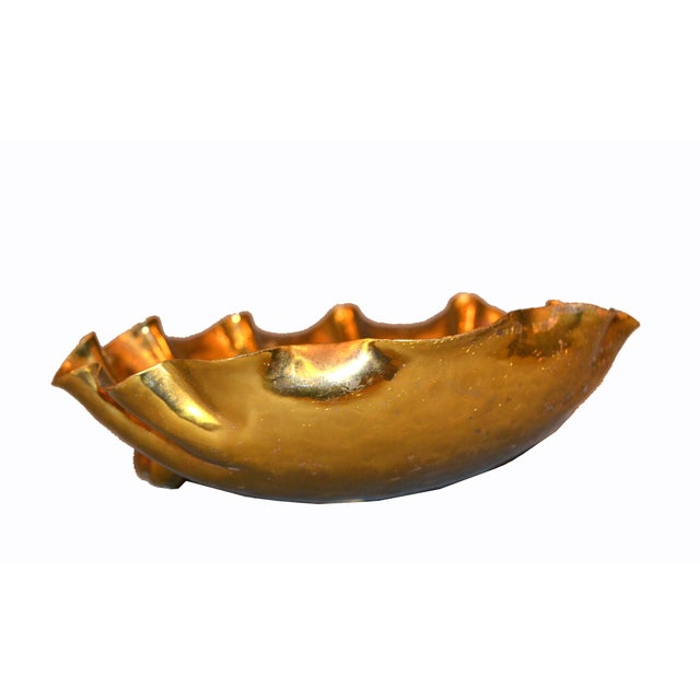 Italian Golden Hand-Hammered Bronze Clam Footed Catchall Bowl, Italy For Sale - Image 11 of 13