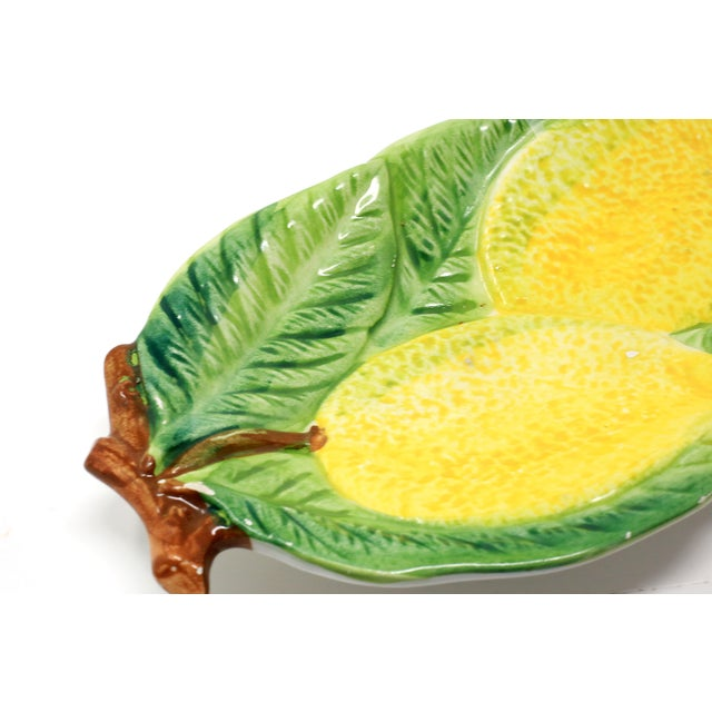 Vintage Italian Majolica Lemons and Leaves Dish For Sale In Tampa - Image 6 of 10