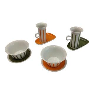 Mid-Century Modern Schmid Porcelain Task La Gardo Tackett Design Mug Bowl & Saucer Set - Eight Pieces For Sale