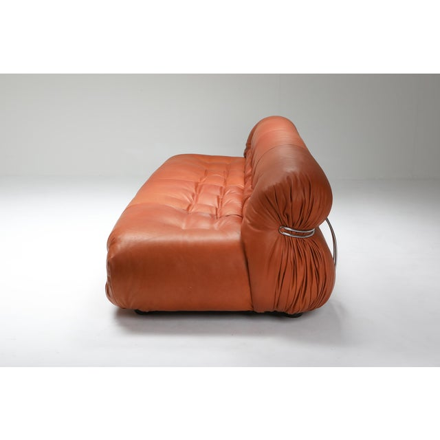 1970s 1970s Cassina Soriana Cognac Leather Sofa by Afra and Tobia Scarpa For Sale - Image 5 of 11