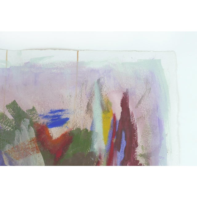 2010s Large Framed Abstract Diptych Signed Acrylic Painting on Paper Dated 2014 For Sale - Image 5 of 13