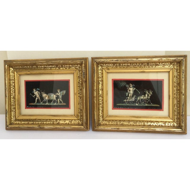 Antique Gouache Paintings of Cherubs - A Pair - Image 2 of 7