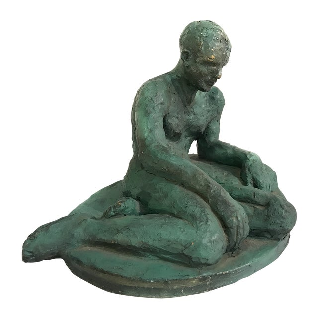 Clay Sculpture of a Seated / Reclining Nude Male, 1937 For Sale