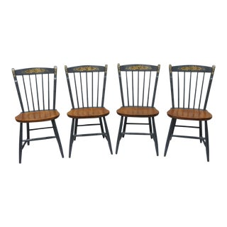 Vintage L. Hitchcock Maple Dining Chairs - Set of 4