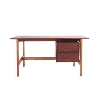 1960s Scandinavian Modern Teak and Oak School Desk For Sale