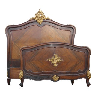 Antique French Rococo Louis XVI Gold Gilt Headboard Bed Frame Made in Britain For Sale