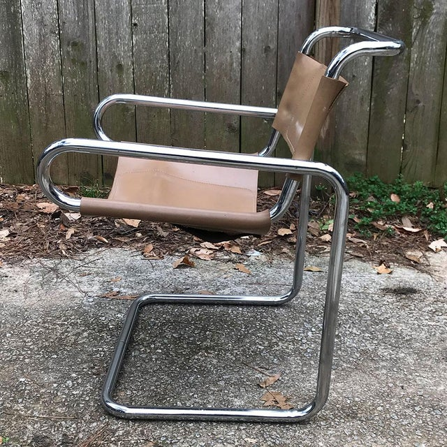 Metal Ralph Rye for Dunbar Leather and Chrome Sling Chairs - a Pair For Sale - Image 7 of 12