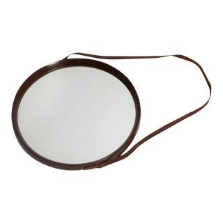 1950's Round Walnut Mirror For Sale