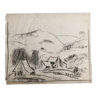 1930s Vintage View of the Blue Ridge Mountains Eliot Clark Drawing For Sale