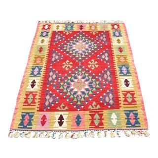 1970s Tribal Wool Colorful Diamond Ethnic Kilim Rug For Sale