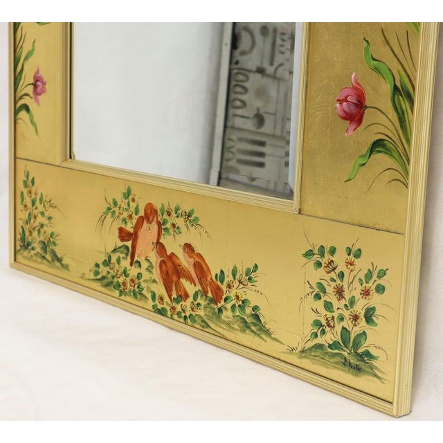 Reverse Painted Gold Leaf Rectangular Frame Decorative Mirro For Sale - Image 11 of 13
