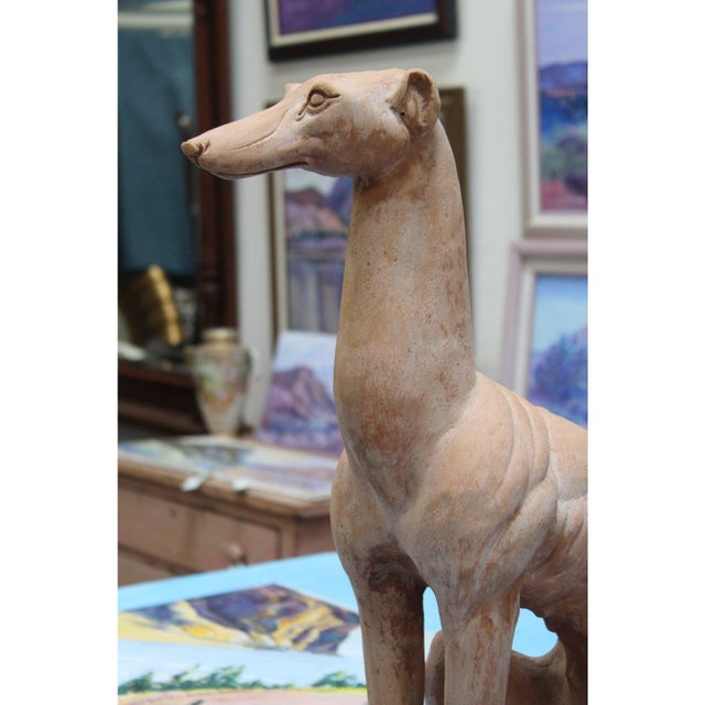 Italian Hollywood Regency Traditional Whippet Greyhound Dog Statues - a Pair For Sale - Image 12 of 13