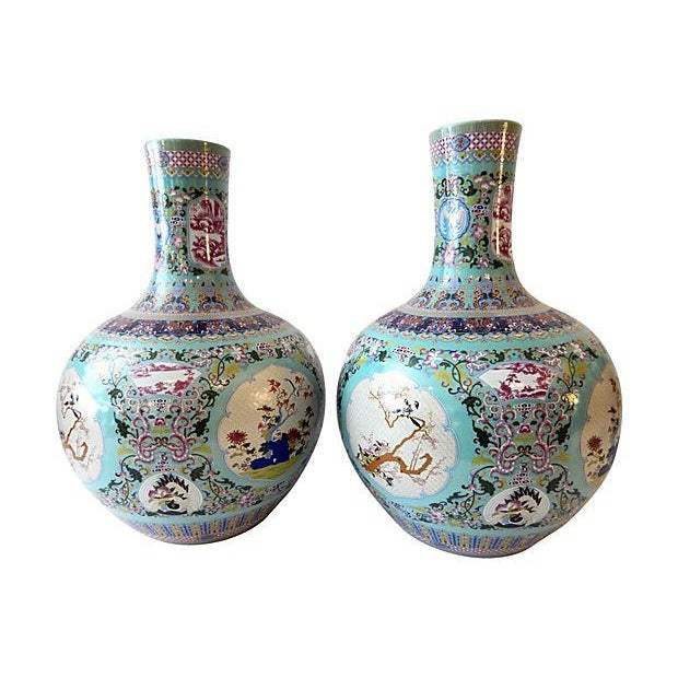 Famille Rose Onion-Shape Vases - Set of 2 - Image 7 of 8