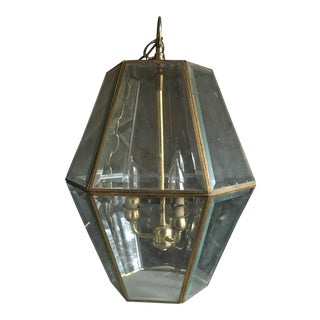 Mid-Century Brass & Cut Glass Hanging Light