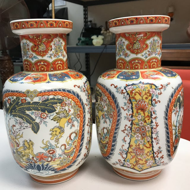 Orange Ardalt Chinoiserie Hand Painted Vases - A Pair For Sale - Image 8 of 10