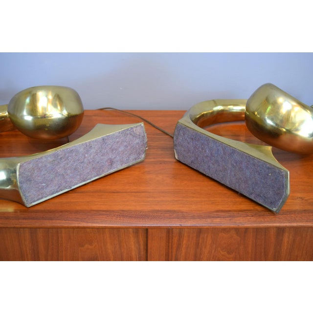Solid Brass Swoosh 'Pierre Cardin' Lamps by Erwin Lambeth - a Pair For Sale In Portland, ME - Image 6 of 12