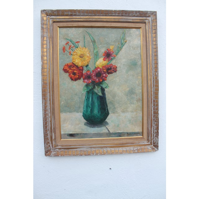 Vintage expressionist still life of flowers painting by Alexander. Great handmade acrylic on board art, color palette and...