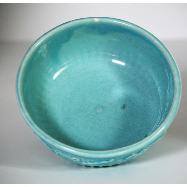 Roseville Pottery Turquoise Bowl For Sale In West Palm - Image 6 of 8