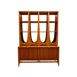 Rare Mid Century Modern Broyhill Brasilia Two Piece Display Case Hutch Credenza Sideboard Room Divider Freestanding Wall Unit Danish Style For Sale