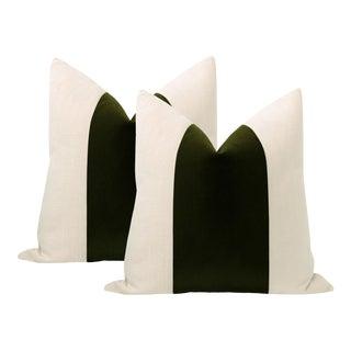 """22"""" Olive Mohair Velvet Panel & Linen Pillows - a Pair For Sale"""