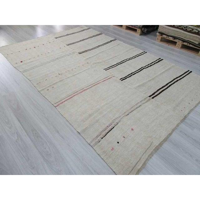 """Vintage Decorative Turkish Hemp Kilim Rug - 6'9"""" X 11'1"""" - Image 5 of 6"""
