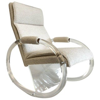 Clear Lucite and Fabric Rocker by Charles Hollis Jones